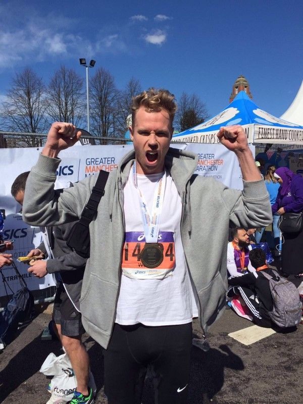 Jonny after finishing the Manchester Marathon