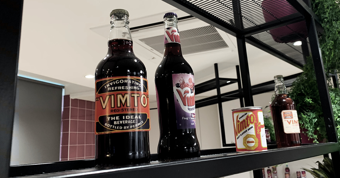 Old Vimto bottles and cans
